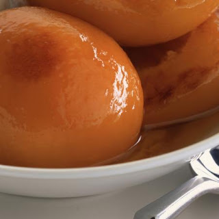 Caramelized Peaches with Spiced Cream
