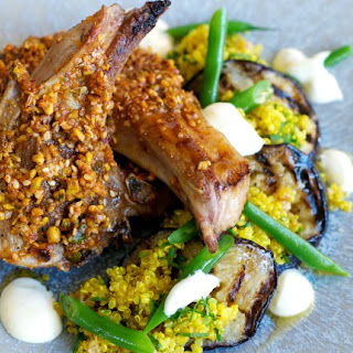 Dukkah Dusted Lamb Cutlets with Quinoa and Aubergine Salad