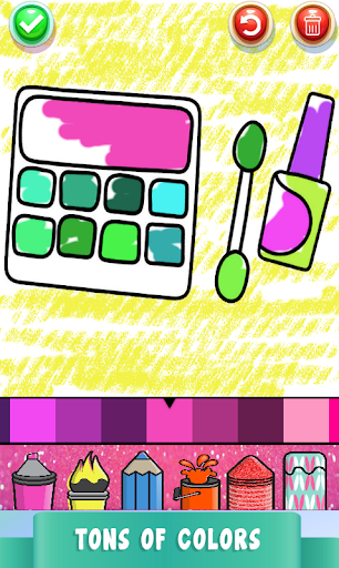 Beauty Drawing Pages Make Up Coloring Book Glitter screenshot 13