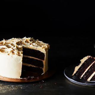 Chocolate Cake with Tahini Buttercream Frosting.