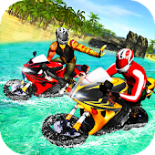 Real Bike Water Surfer Race