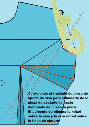 Al eliminar parte de la pinza de costado se corrige la curva de la sisa
