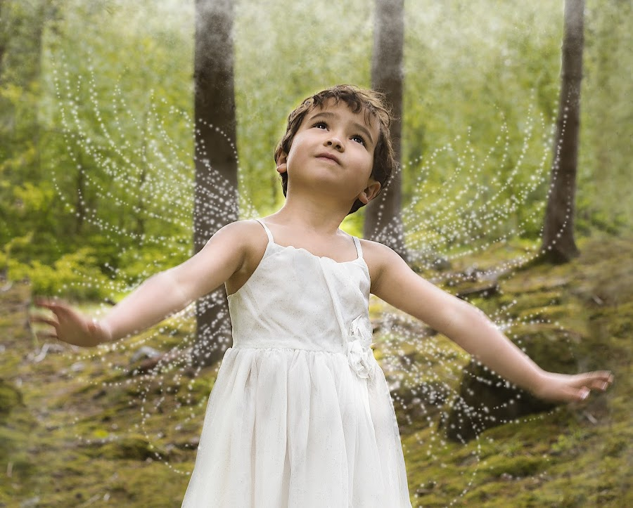 Those who don't believe in magic will never find it by Sara Skog - Babies & Children Children Candids ( playing, flying, forrest, girl, fairy, pixiedust )