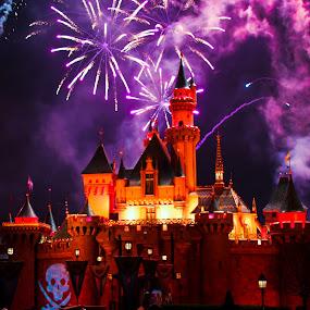 Fireworks over Disneyland by Jorge Villalba - Landscapes Travel ( lights, mouse, mickey, fireworks, night, disneyland )