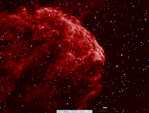 Photo: Full view of the Jellyfish Nebula (http://astrob.in/188226/0/) or IC443 taken on Nov 22 and Dec 25 of 2014.  You can see the single night data at the bottom, fuzzy and not smooth and the mosaic border of the multi night data centered.