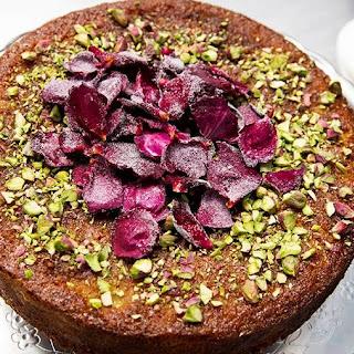 Pistachio and Rose Semolina Cake.