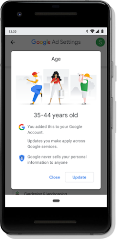 Mobile screen showing Google ad customization for age