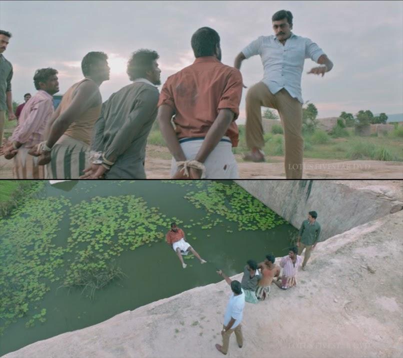 tamil vijay sethupathi kicking rowdies in well