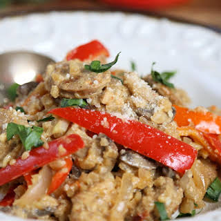 Low Carb Chicken Sausage Risotto Recipe with Mushrooms and Peppers.