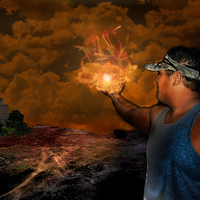 Light the Way by Adriano Sabagala - Digital Art Places ( holding fire, apocalypse, end of world, darkness, light )