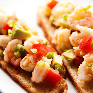 Tomato and Avocado Shrimp Crostini