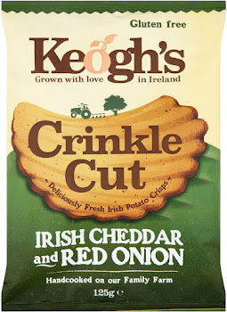 Keogh's Crinkle Cut Irish Potato Crisps - Cheddar & Red Onion, 125g