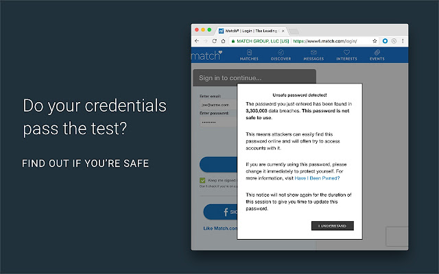 Screenshot of PassProtect for Chrome