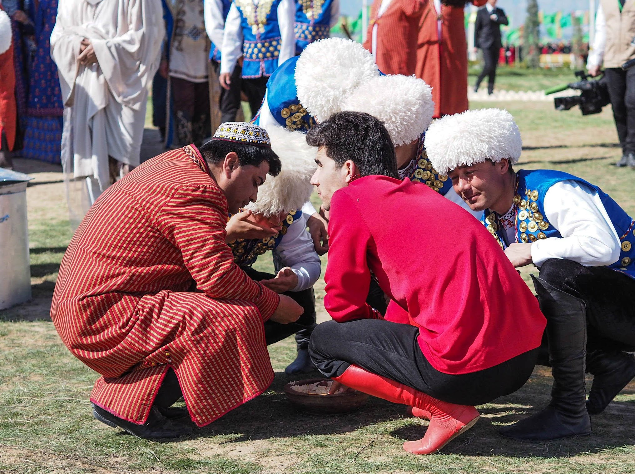 Eating plov at Nowruz Bayram in Turkmenistan
