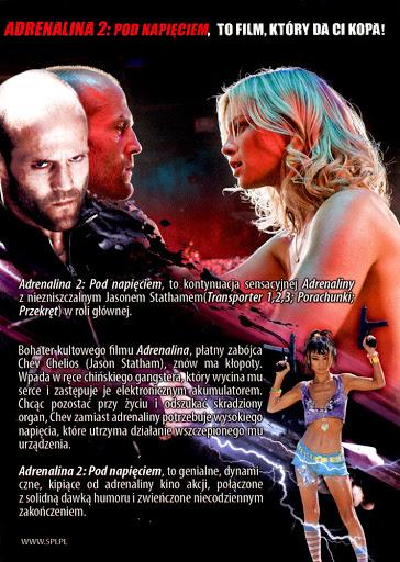 Tył ulotki filmu 'Adrenalina 2. Pod Napięciem'