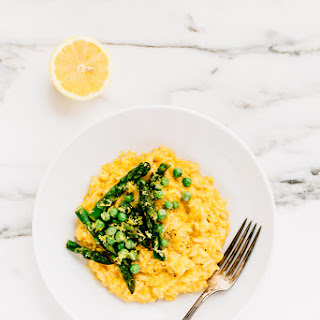 Spring Risotto with Asparagus, Peas + Roasted Garlic Cashew Cream (Vegan)