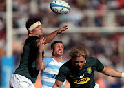 Argentina's Bautista Delguy in action against South Africa's Francois Louw and Faf de Klerk during the Rugby Championship match at Malvinas Argentinas Stadium, Mendoza, Argentina on August 25, 2018.