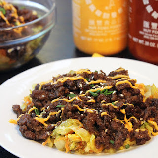 Korean Ground Beef Over Wilted Napa Slaw