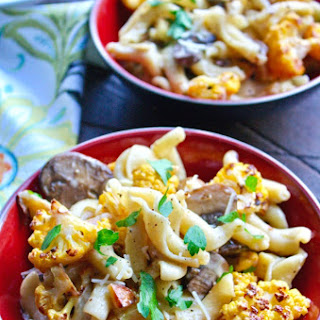 Creamy Pasta with Roasted Cauliflower and Mushrooms.