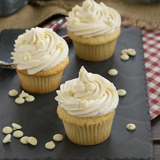 Vanilla Cupcakes with White Chocolate Buttercream.