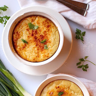 Creamy Cheddar Cheese Grits Soufflé with Blistered Tomatoes