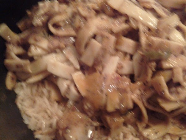 Fried ricey noodles.   In a small fry pan fry the rice until browned. add...