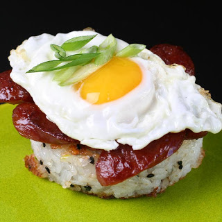 Breakfast Rice Cakes with Chinese Sausage.