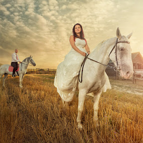 Love and horses by Bojan Dzodan - Wedding Bride & Groom ( love, nature, sunset, wedding, horse, bride, groom )