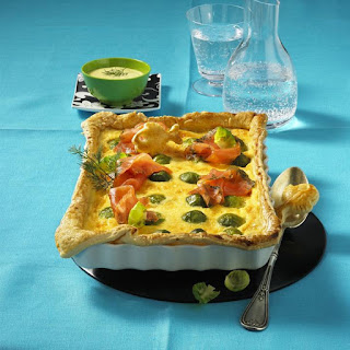 Sprout and Smoked Salmon Quiche.