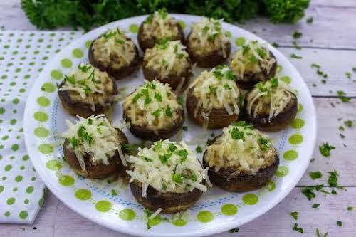 """Chevre and Sausage Stuffed Mushrooms""""These unbelievably tasty mushrooms owe their creaminess to..."""