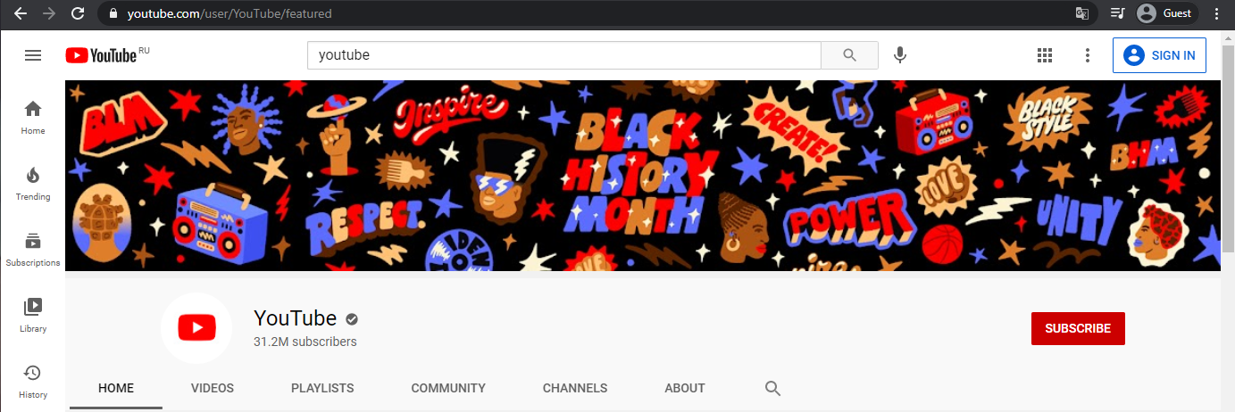 banner of the official YouTube channel
