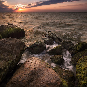 Sunset by Dmitriy Yanushevichus - Landscapes Waterscapes ( water, clouds, vertical, waves, sea, ocean, seascape, landscape, panorama, dawn, sky, color, sunset, stones, rocks )