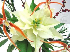 Photo: Adventsstern, Orchideen und Zweige aus Zuckermasse