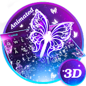 3D Smoke Butterfly Theme&Emoji Keyboard