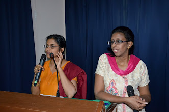 Photo: MCs of the Day, Mrs Shanthini, TAPAS committee memeber and Mrs Peramah, Lily teacher
