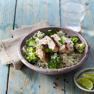 Chicken with Coconut Rice and Broccoli.