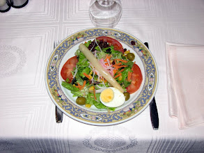 Photo: Typical of the salads served with the lighter evening meal.  A Spanish tortilla followed --  a thick omelet which is mainly potatoes with other additions.