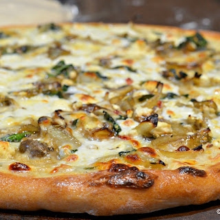 Caramelized Onion, Mushroom, Feta Pizza with White Bechemel Sauce