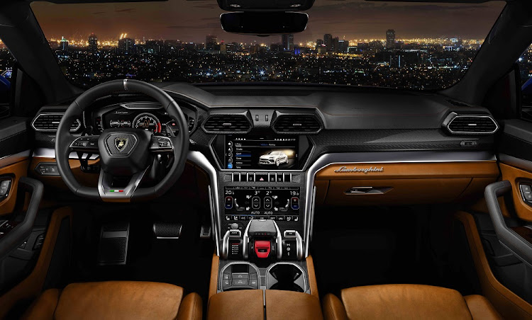 The interior has that real fighter cockpit feel together with plenty of luxury and tech.   Picture: LAMBORGHINI