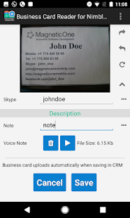 Free Business Card Reader for Nimble CRM- screenshot thumbnail