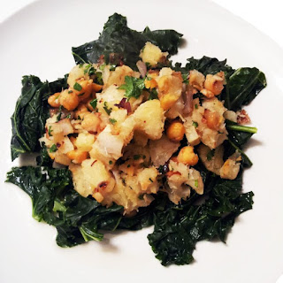 Garlic Cassava with Chickpeas & Kale