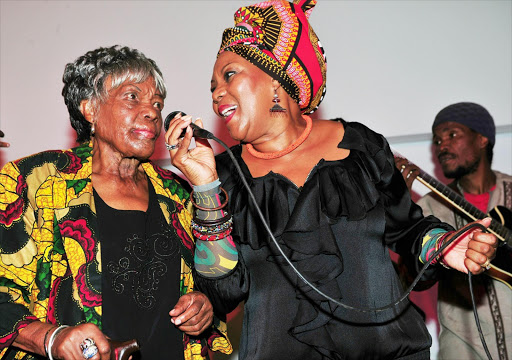 Legendary musician Thandi Klaasen performing with her daughter, Lorraine at the the Huddleson Centre in Sophiatown. Pic. Veli Nhlapo./ Sowetan