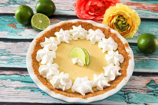 Real Key Lime Pie From Key West Ready To Be Sliced.