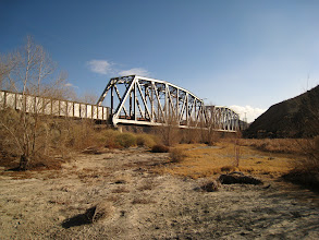Photo: The railroad bridge, from the other side. At this time of the year, the Mojave river has (some) water flowing (right side of thep picture)