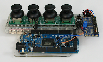 Photo: My test controller for the head and shoulder components. I'm not done yet, but I'll be using this Rig (loaded wtih 100% Adafruit Industries equipment - my Favorite company in the Universe!). I'm using an Arduino Due and Adafruit's 16-channel PWM 6V-max controller for testing all the servos (would Love a 7.4Volt capable version!!).