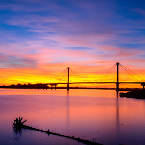 by Darrin Ralph - Novices Only Landscapes ( blue, sunset, long exposure, bridge, river )