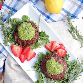 Lamb Burgers with Rosemary Pesto Sauce (Paleo, GF + Dairy Free)