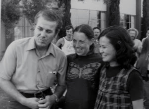 Photo: Laszlo Tabori, Jacqueline and Miki Gorman (pregnant), afrer J's world record marathon at WHM in Culver City, Dec. 1974.