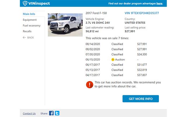 VININSPECT Vehicle History Reports