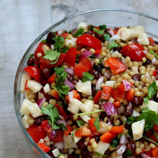 Wheat Berry Salad with Lime Dressing and Avocados, Peppers, Jicama and Tomatoes Recipe
